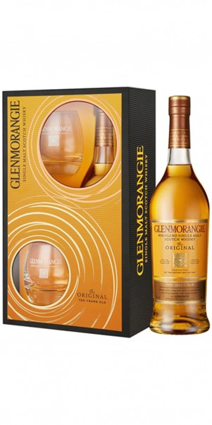 Glenmorangie Original 10 Jahre 40%, Single Highland Malt+2 Glenmorangie Tumbler Geschenkset -limitie