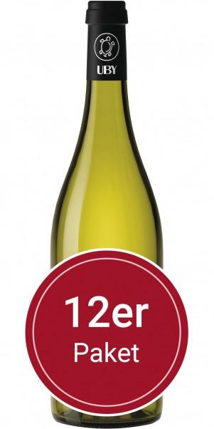 Sparpaket: 12 Flaschen Domaine Uby, N° 3 Colombard Sauvignon Blanc, Vin de Pay's des Cotes de Gascog