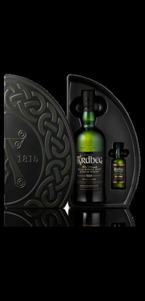 Ardbeg 10 Jahre, Islay Malt Whisky, 46% QUADRANT Geschenkbox mit Ardbeg UIGEADAIL 50ml