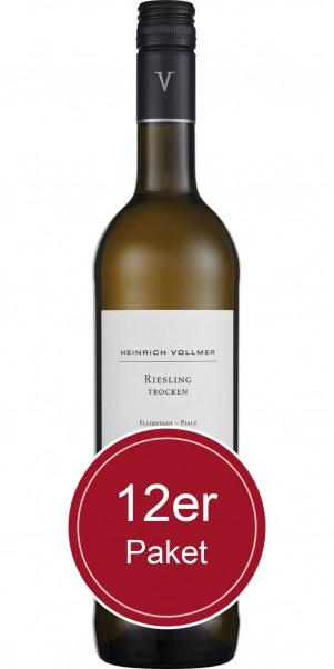 Sparpaket: 12 Flaschen Weingut Heinrich Vollmer, Riesling trocken, QbA Pfalz