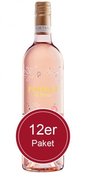 Sparpaket: 12 Flaschen Fortant de France, Merlot Rose, Vin de Pays d'Oc - in serigrafierter Flasche